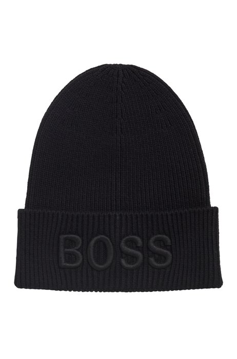 Cotton-blend beanie hat with 3D logo embroidery, Black
