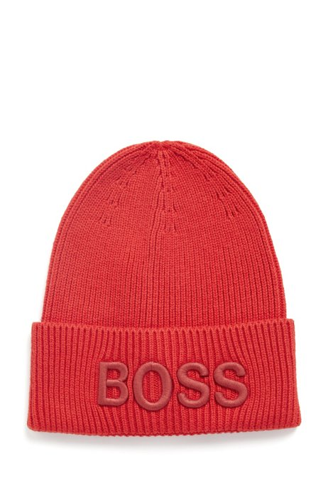 Cotton-blend beanie hat with 3D logo embroidery, Orange