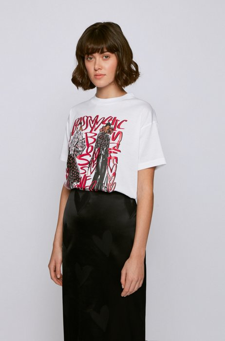 Crew-neck T-shirt in mercerised cotton with collection artwork, White