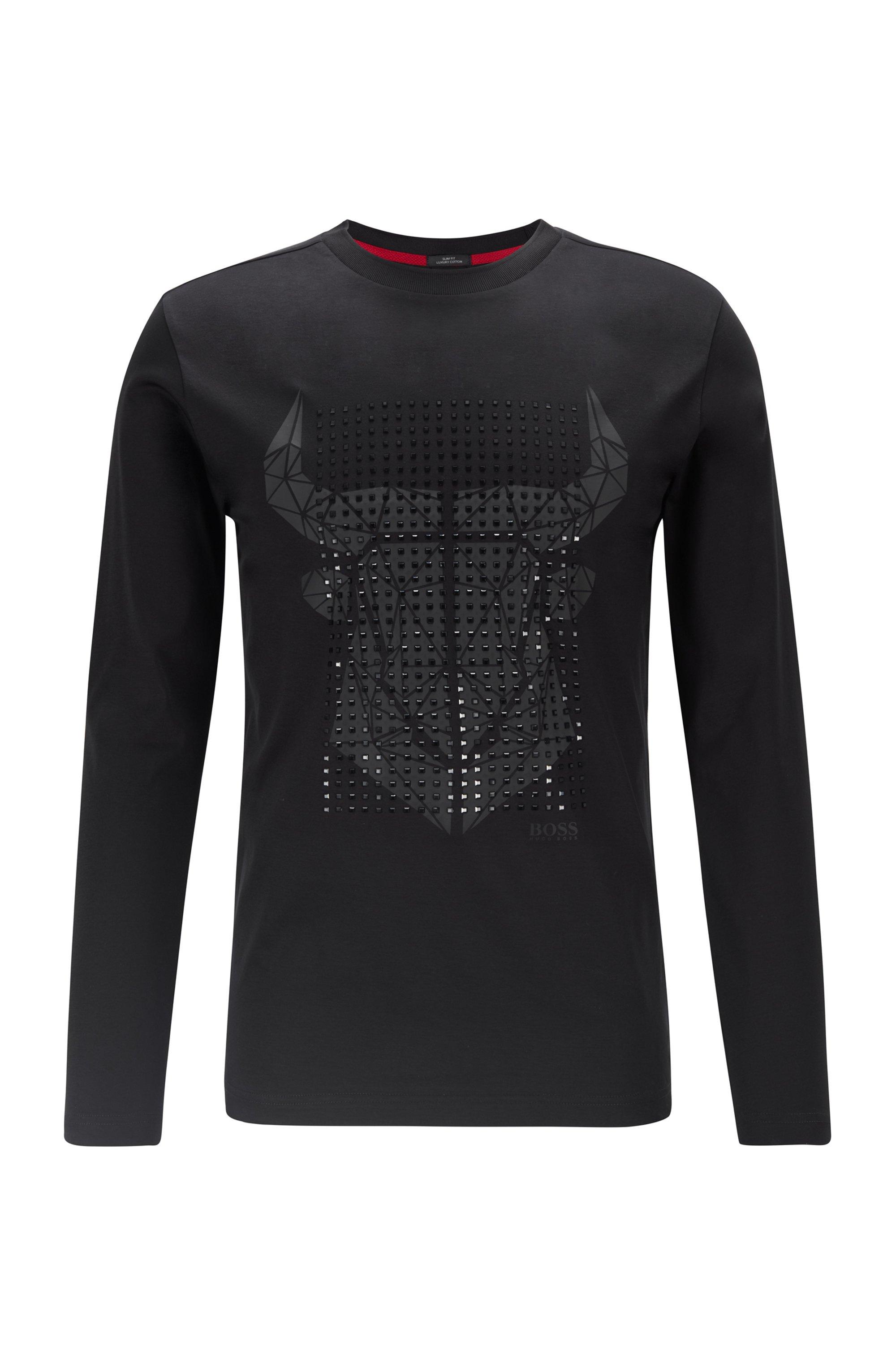 T-shirt Slim Fit en coton mercerisé orné d'un motif tête de buffle artistique, Noir