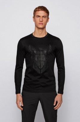 スリムフィットTシャツ シルケットコットン オックスヘッドアートワーク, ブラック