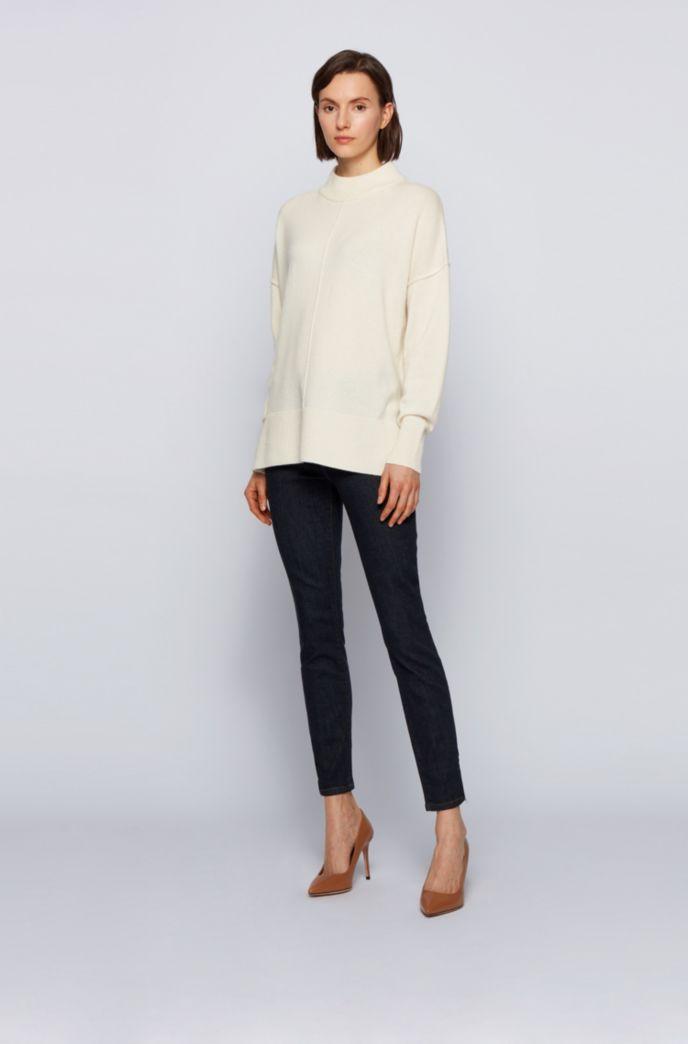 Zip-hem skinny-fit jeans in dark-blue stretch denim