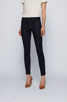Zip-hem skinny-fit jeans in dark-blue stretch denim, Dark Blue