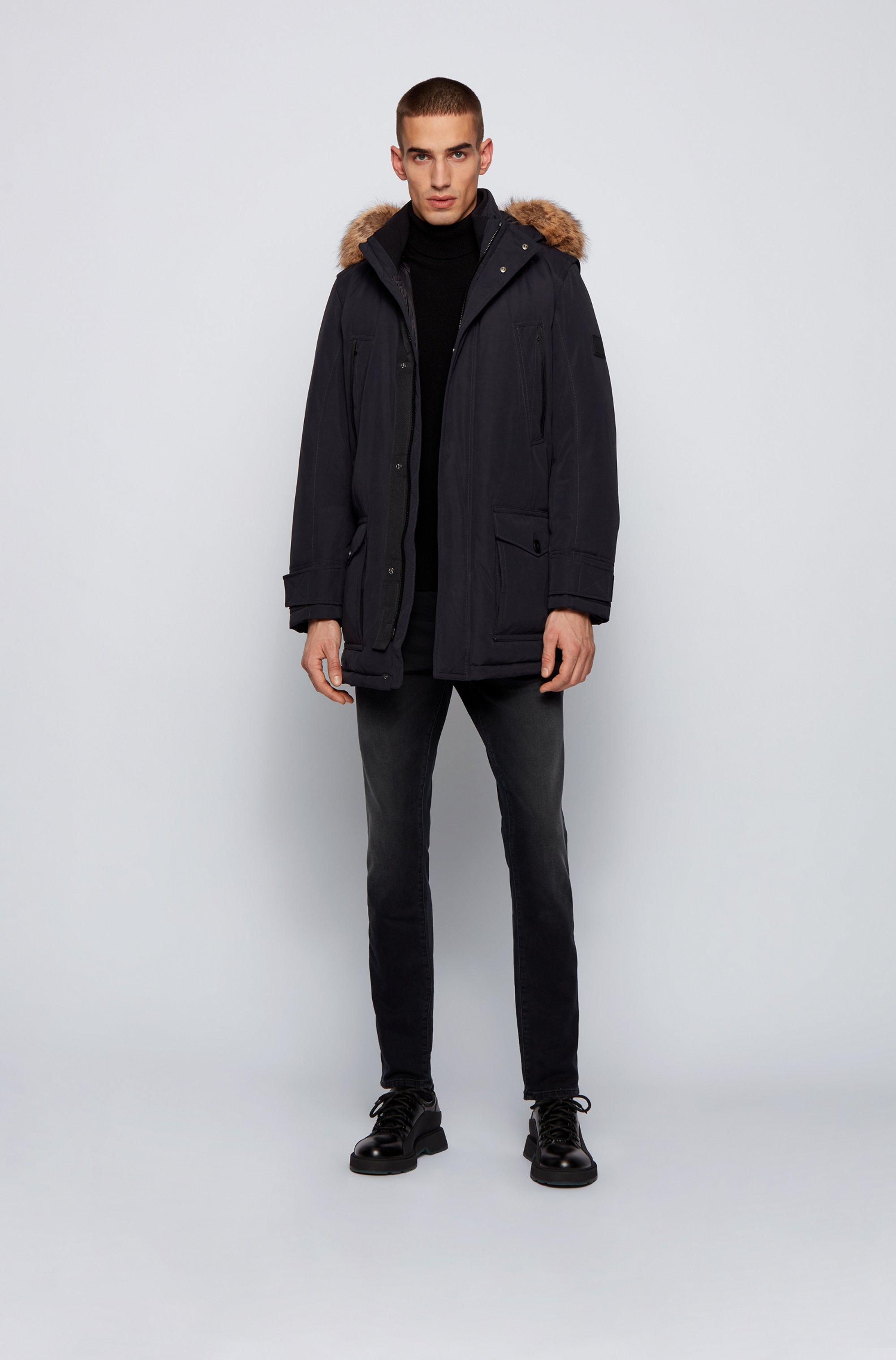 Water-repellent down coat with detachable faux-fur trim