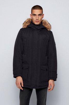 Water-repellent down coat with detachable faux-fur trim, Black