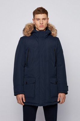 Water-repellent down coat with detachable faux-fur trim, Dark Blue