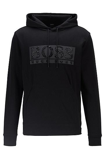 水钻徽标装饰棉混纺连帽运动衫,  001_黑色