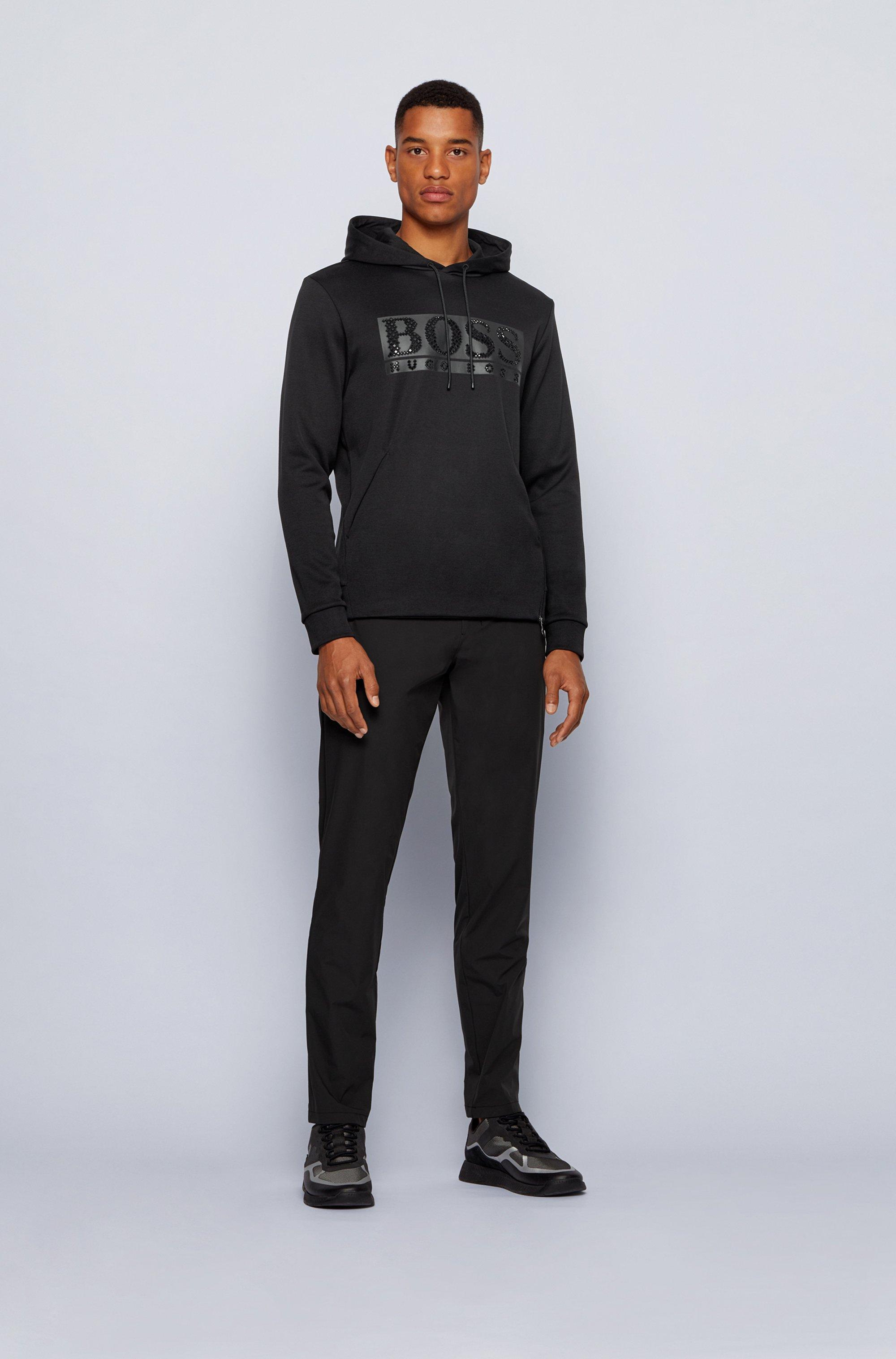 Cotton-blend hooded sweatshirt with rhinestone logo