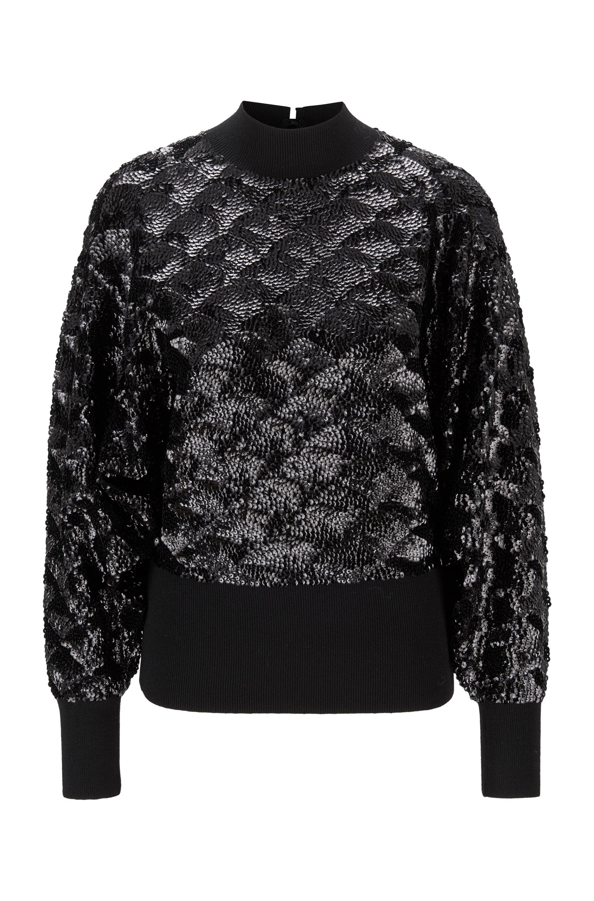 Pullover aus Woll-Mix mit Pailletten, Schwarz