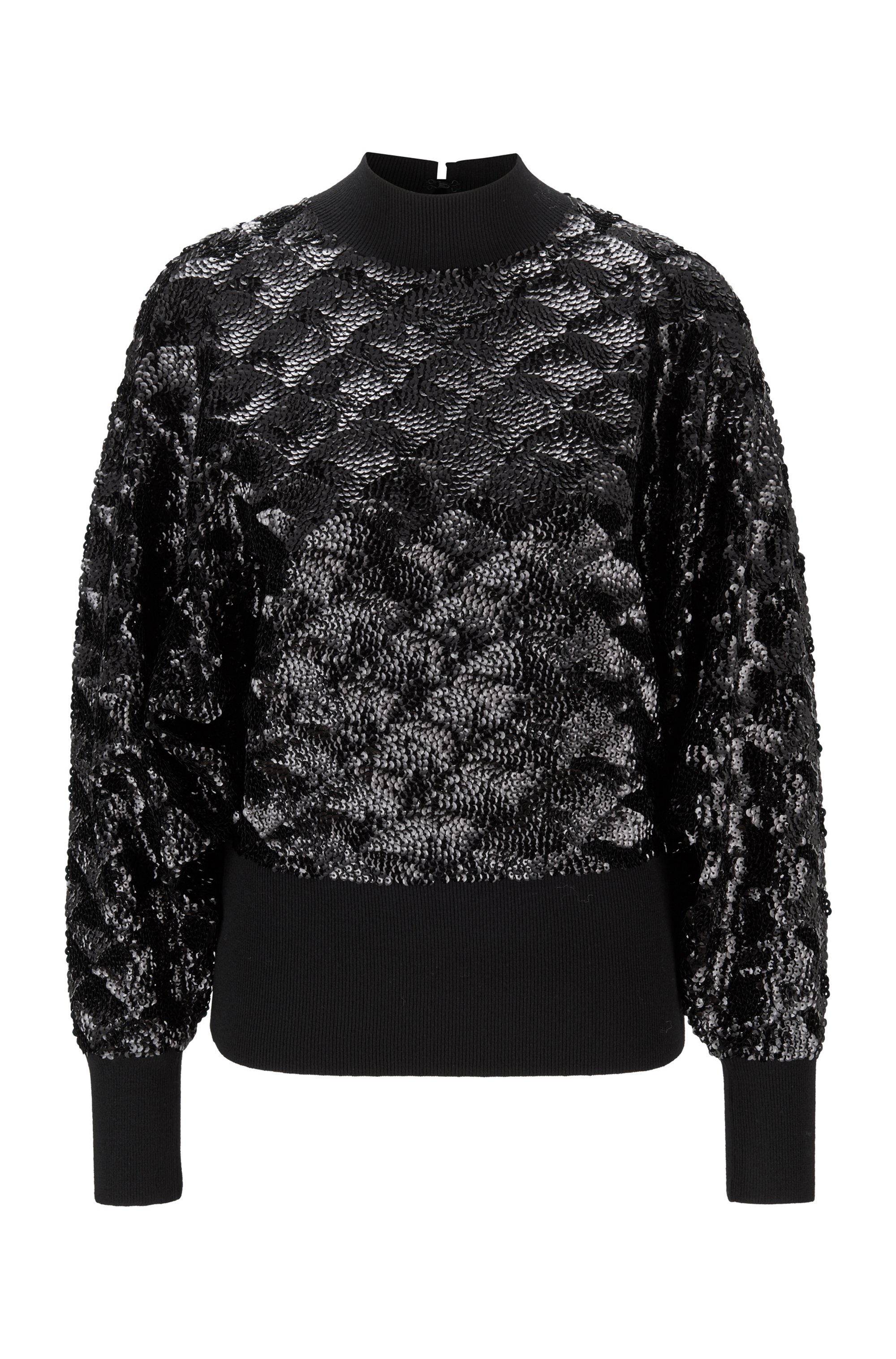 Sequinned sweater in a wool blend, Black