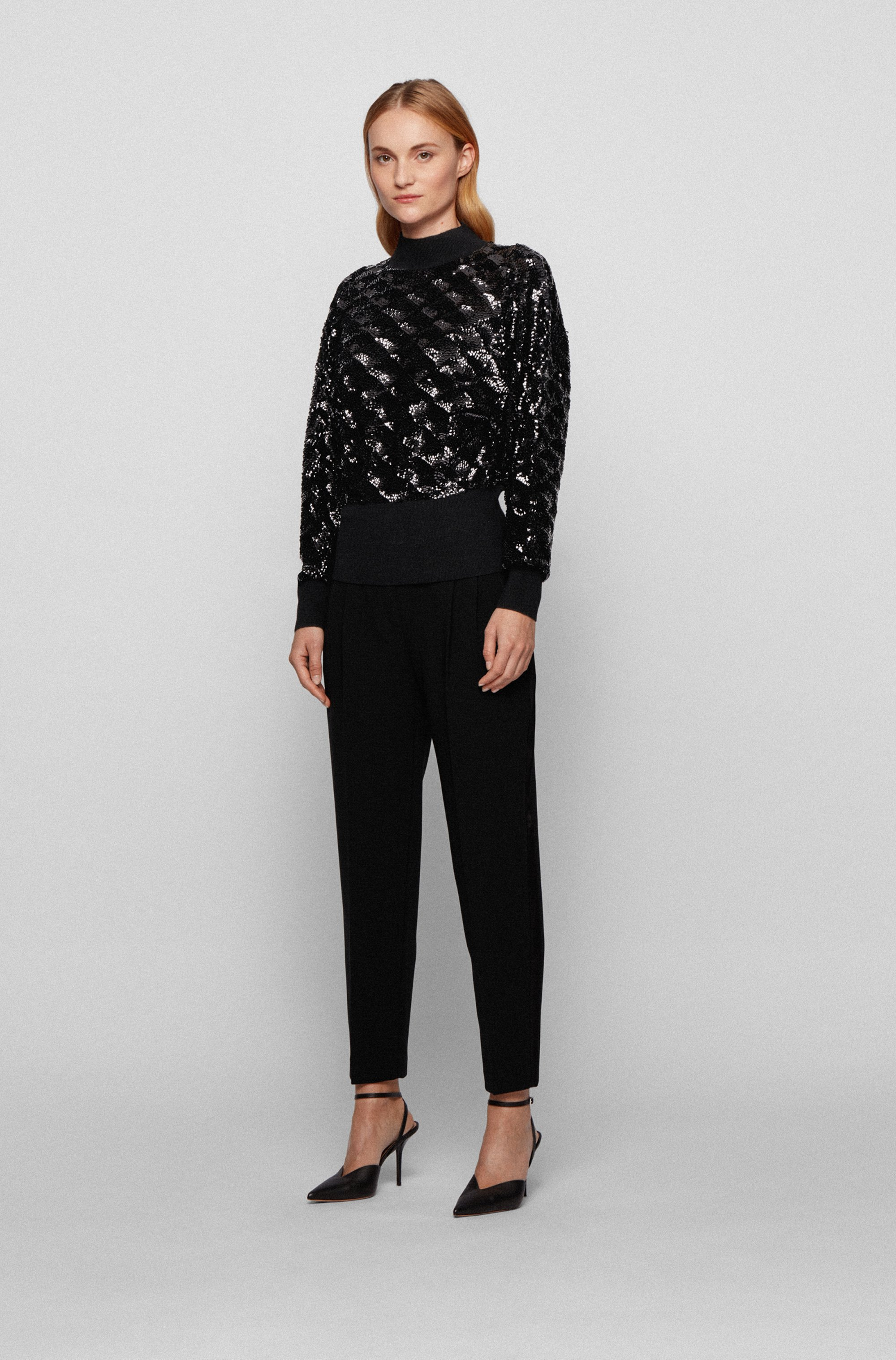 Sequinned sweater in a wool blend
