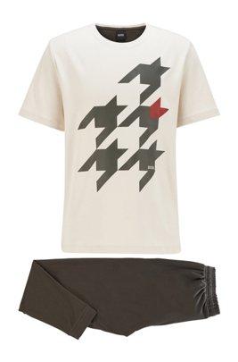 Cotton pyjama set with houndstooth motif, White