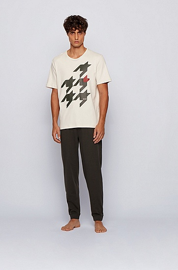 千鸟格图案棉质睡衣,  109_天然色