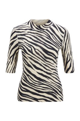 Slim-fit sweater in virgin wool with zebra print, Patterned