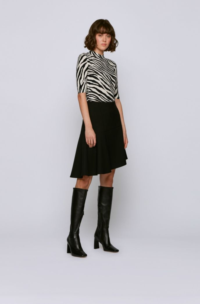 Slim-fit sweater in virgin wool with zebra print
