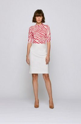Slim-fit sweater in virgin wool with zebra print, Patterned