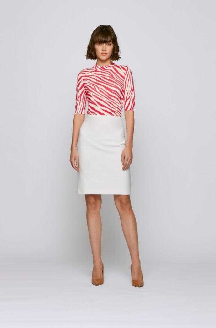 Slim-fit sweater in virgin wool with zebra print