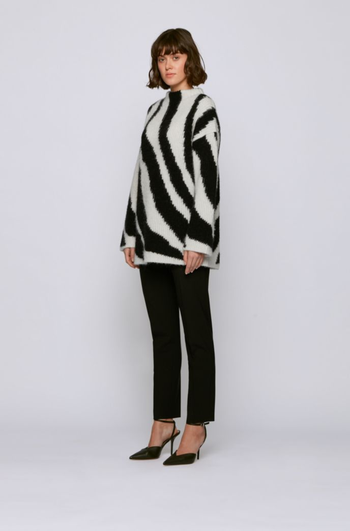 Relaxed-fit wool-blend sweater with zebra intarsia