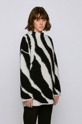 Relaxed-fit wool-blend sweater with zebra intarsia, Patterned