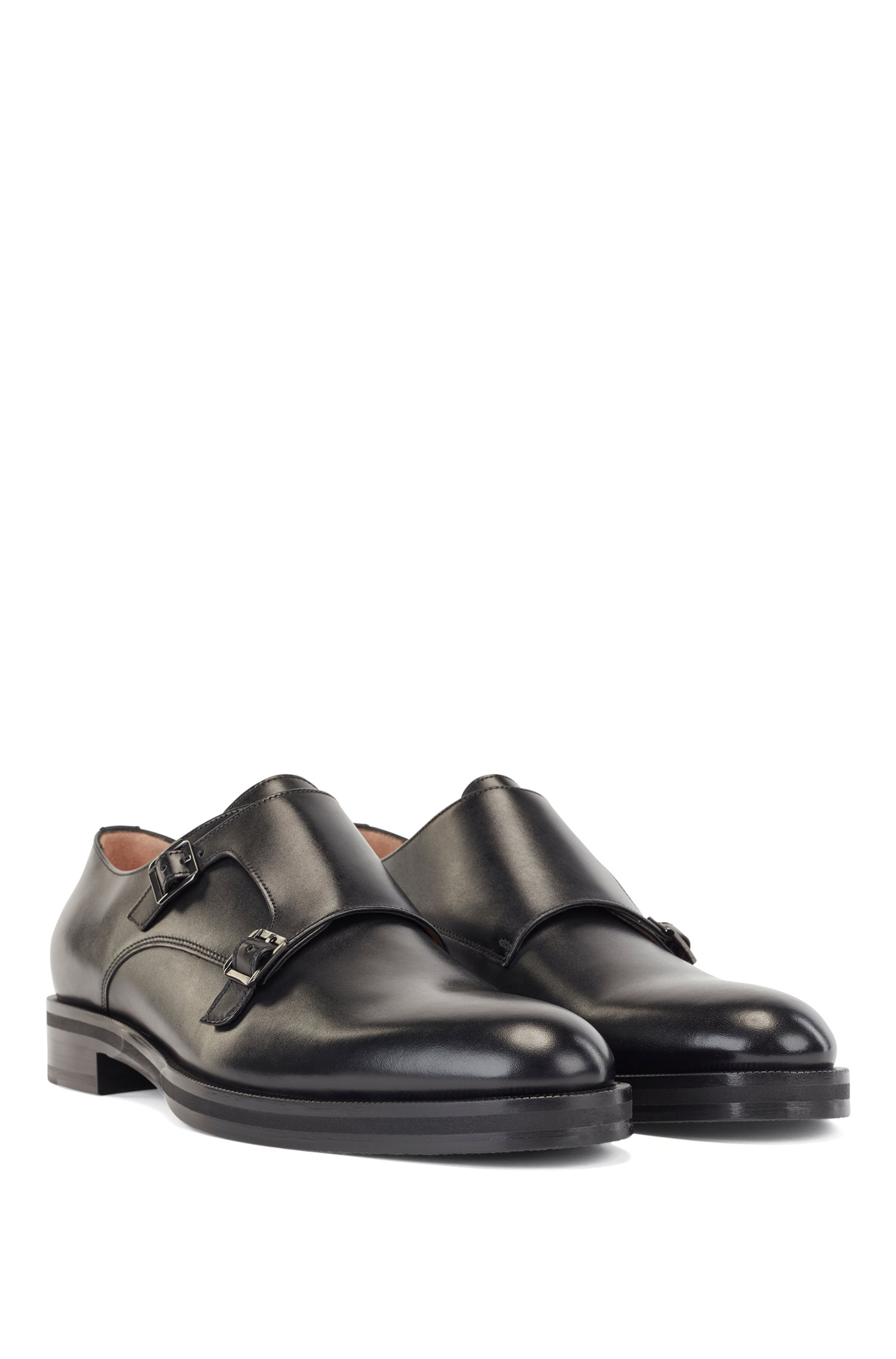 Italian-made double-monk shoes in calf leather