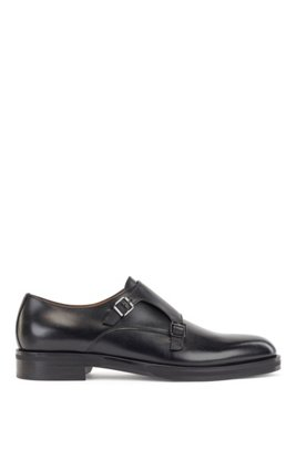 Italian-made double-monk shoes in calf leather, Black