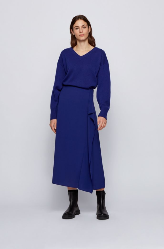 Relaxed-fit sweater in pure cashmere with balloon sleeves