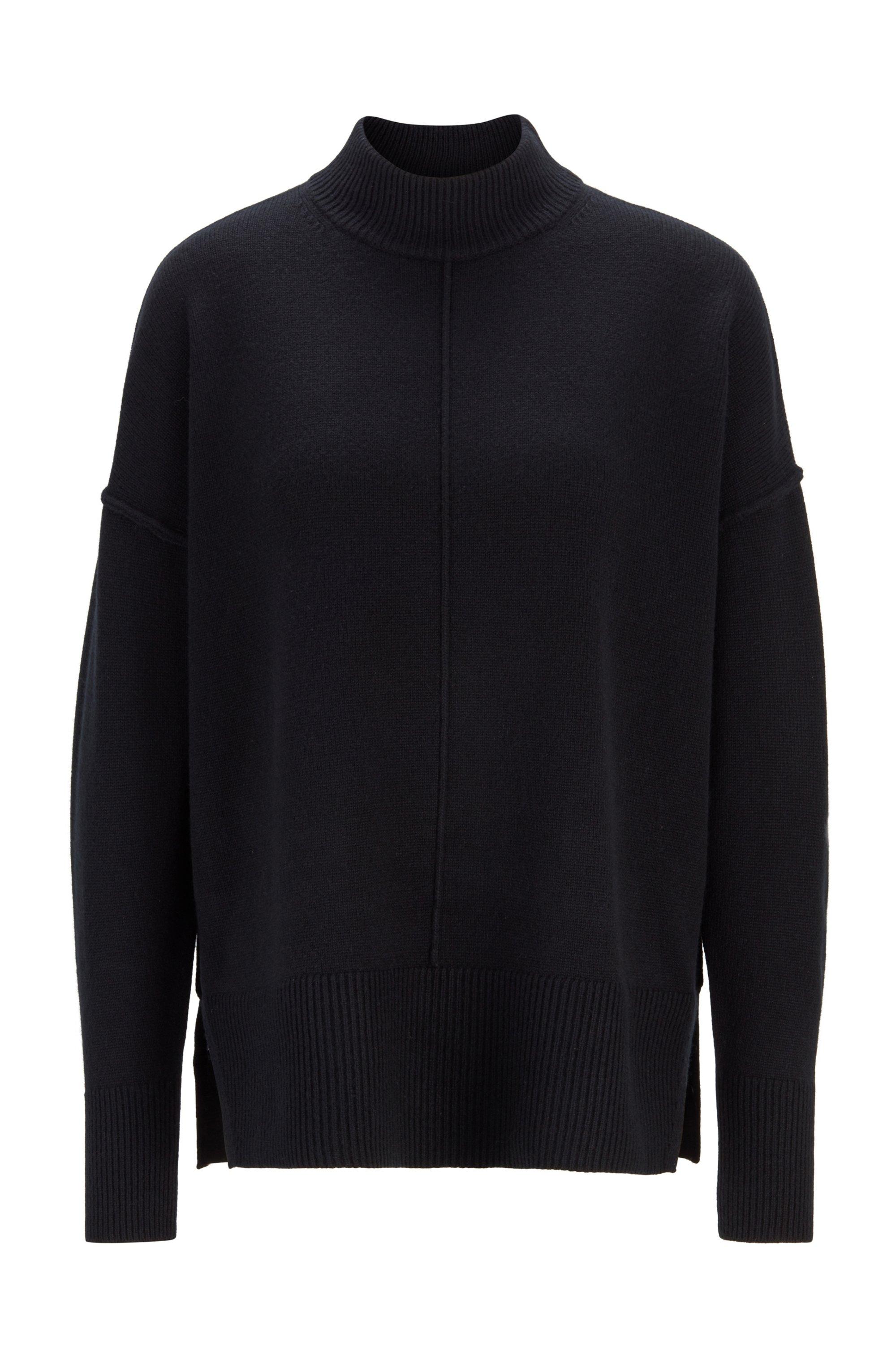 Pullover aus reinem Kaschmir mit Stehkragen, Schwarz