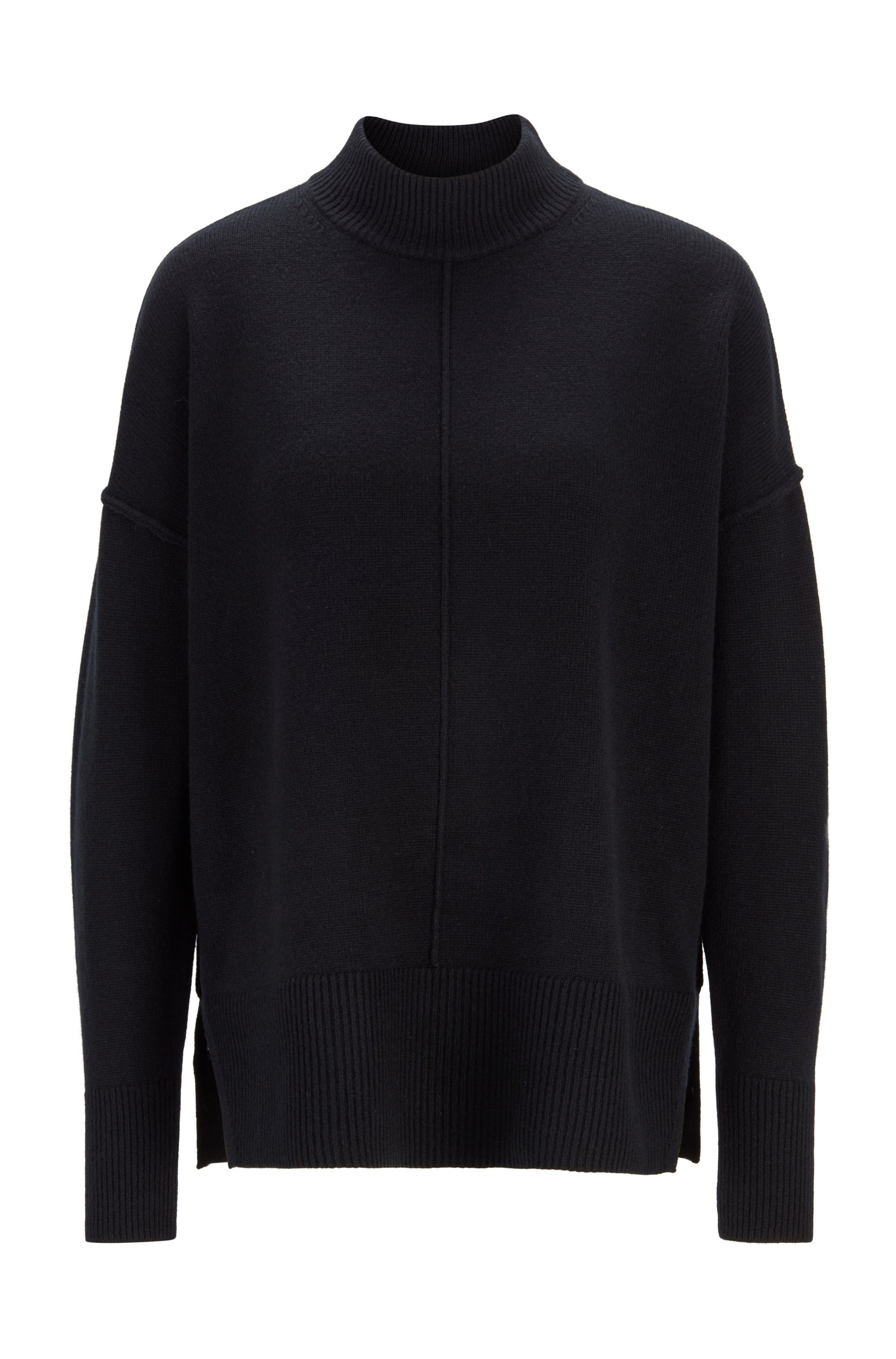 Relaxed-fit sweater in pure cashmere with mock neck, Black
