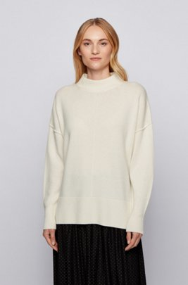 Relaxed-fit sweater in pure cashmere with mock neck, White