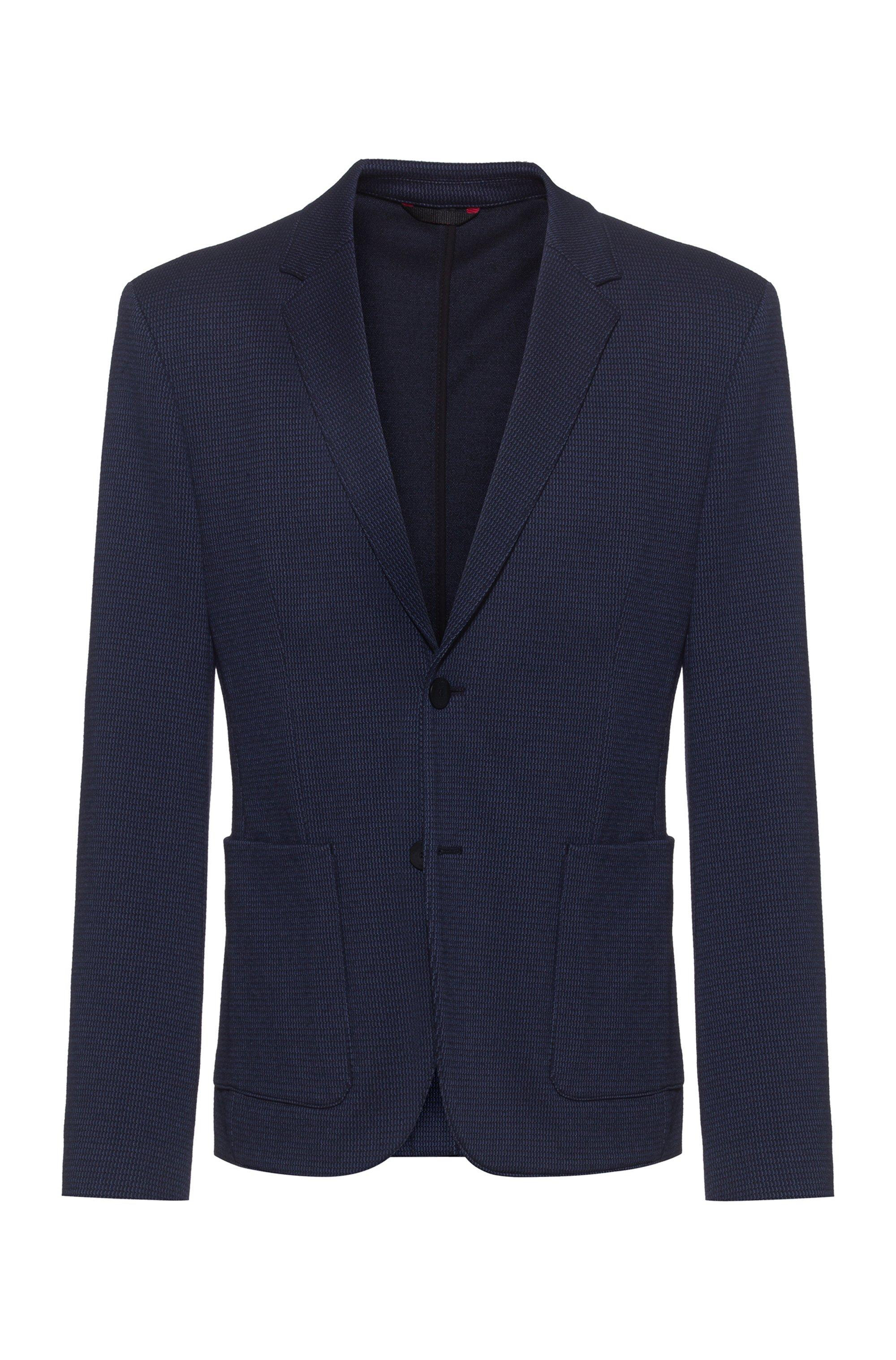 Extra-slim-fit jacket in structured jersey, Dark Blue
