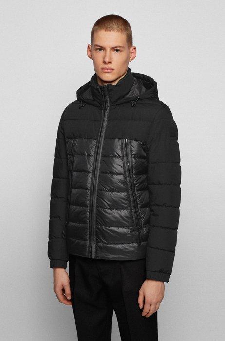 Hybrid padded jacket with recycled wadding and hood, Black