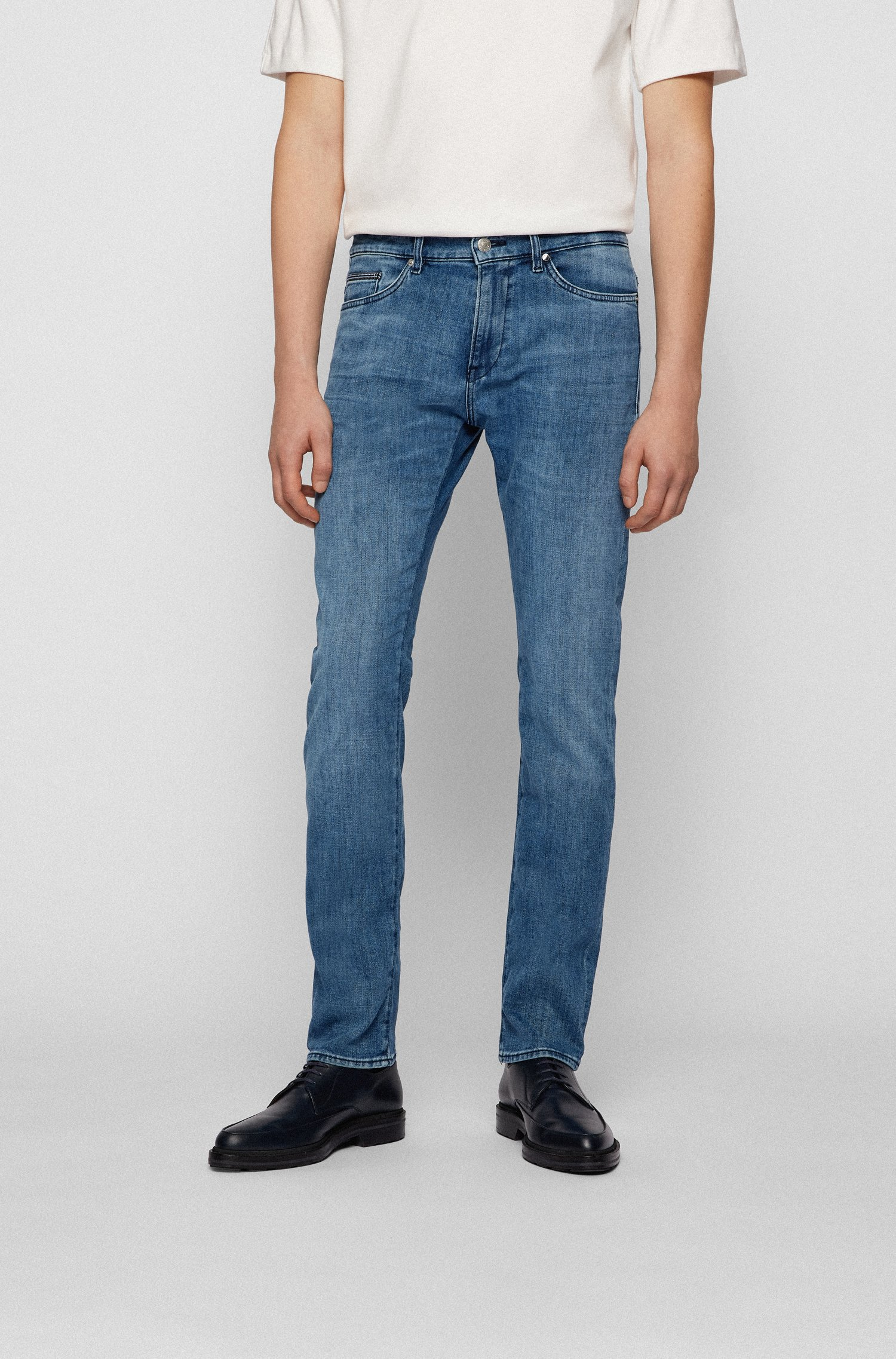 Slim-fit jeans in cashmere-touch denim, Blue