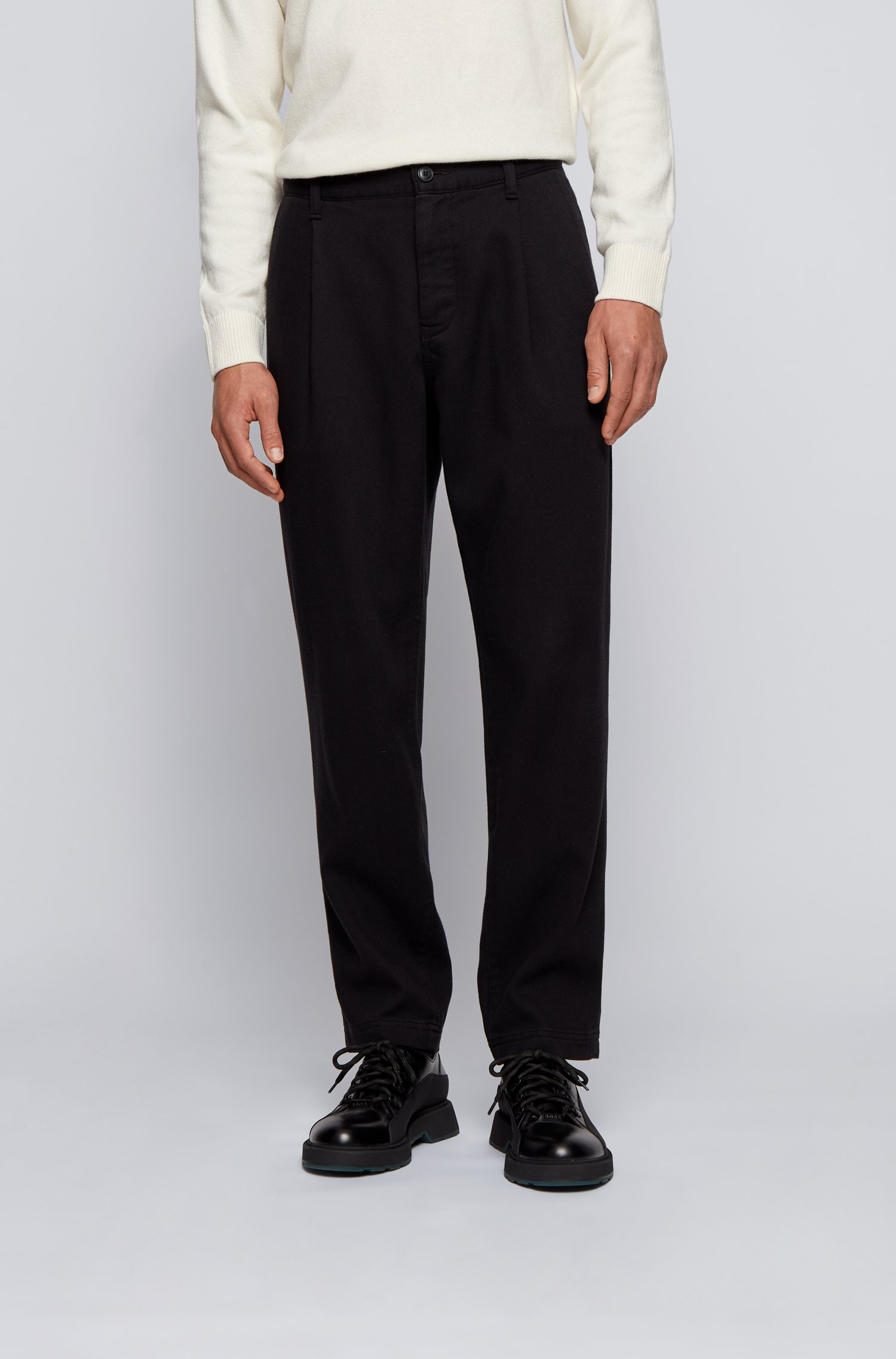Relaxed-fit pleat-front trousers in super-soft twill, Black