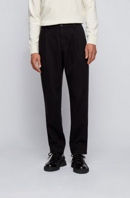 Pantalon Relaxed Fit à pinces en twill très doux, Noir