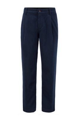 Relaxed-fit pleat-front trousers in super-soft twill, Dark Blue