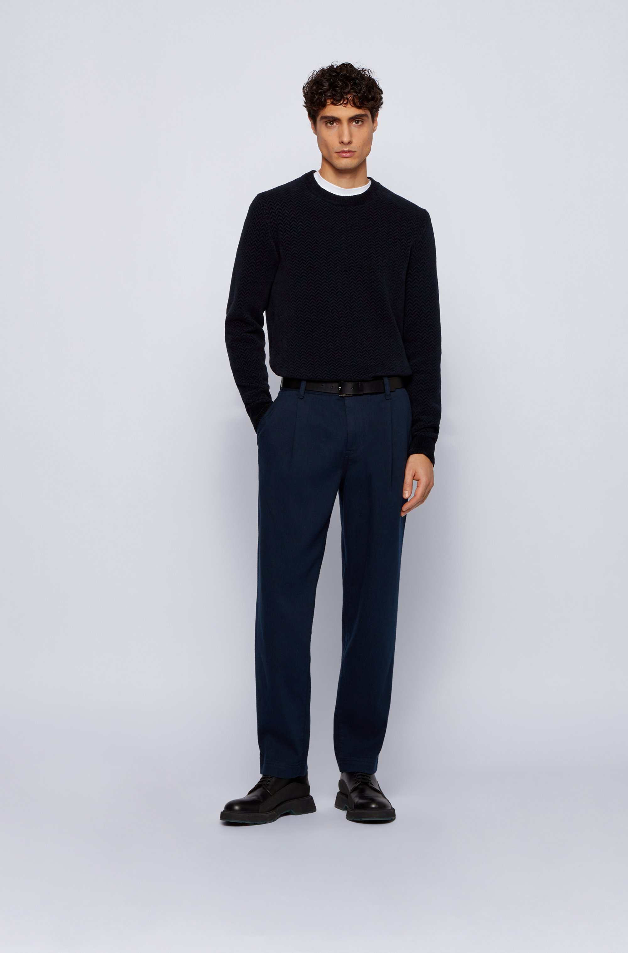 Relaxed-fit pleat-front trousers in super-soft twill