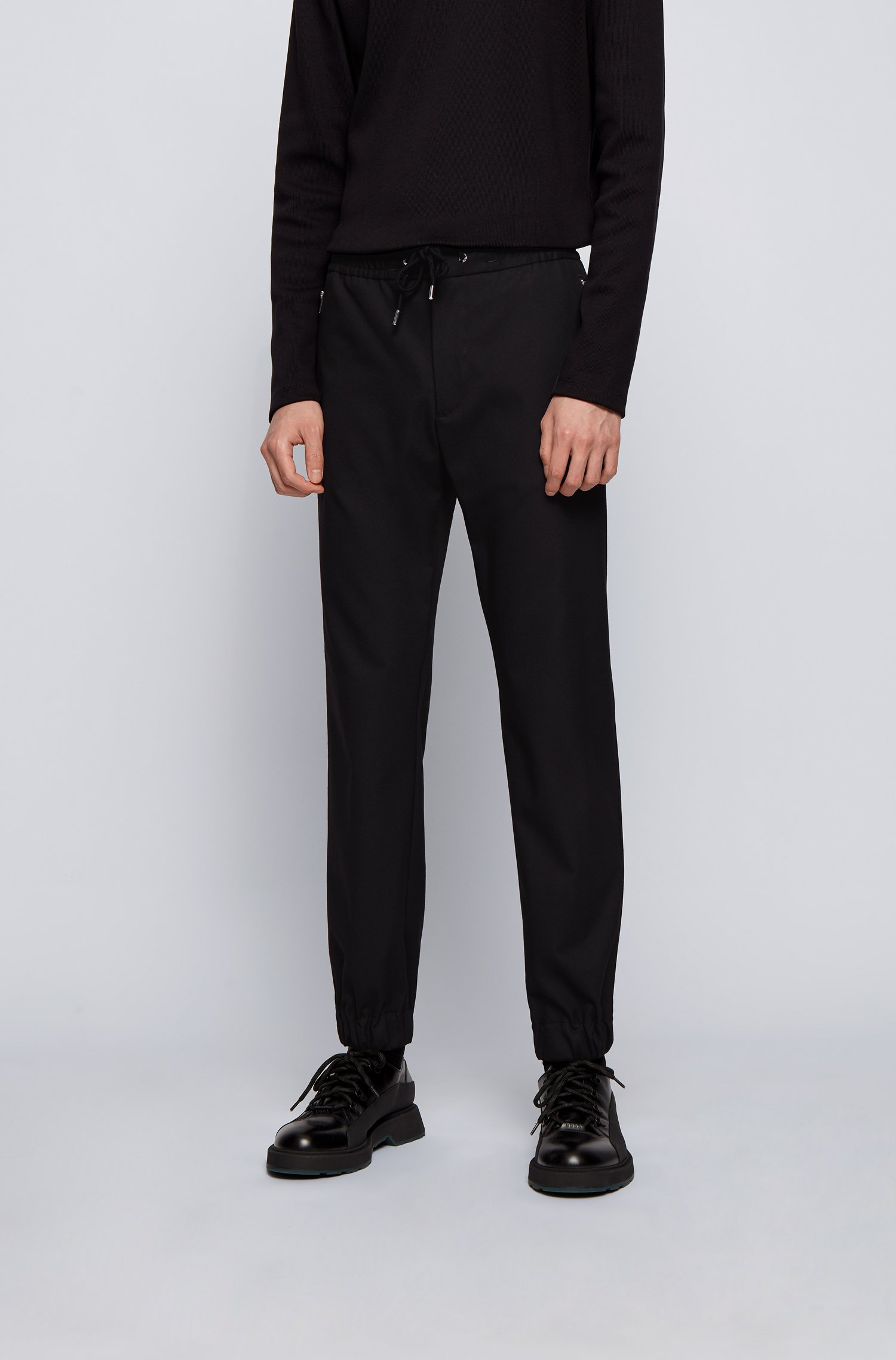 Slim-fit trousers with drawstring waist and zipped pockets, Black