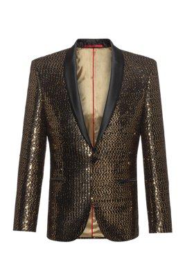 Extra-slim-fit dinner jacket in golden sequins, Gold