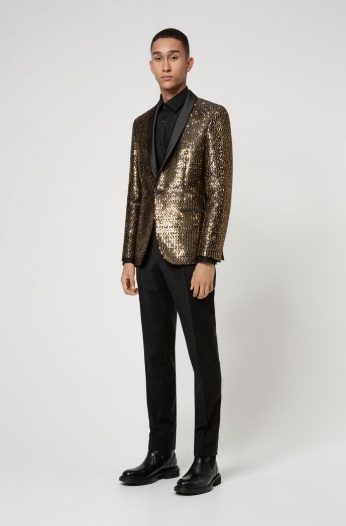 Extra-slim-fit dinner jacket in golden sequins
