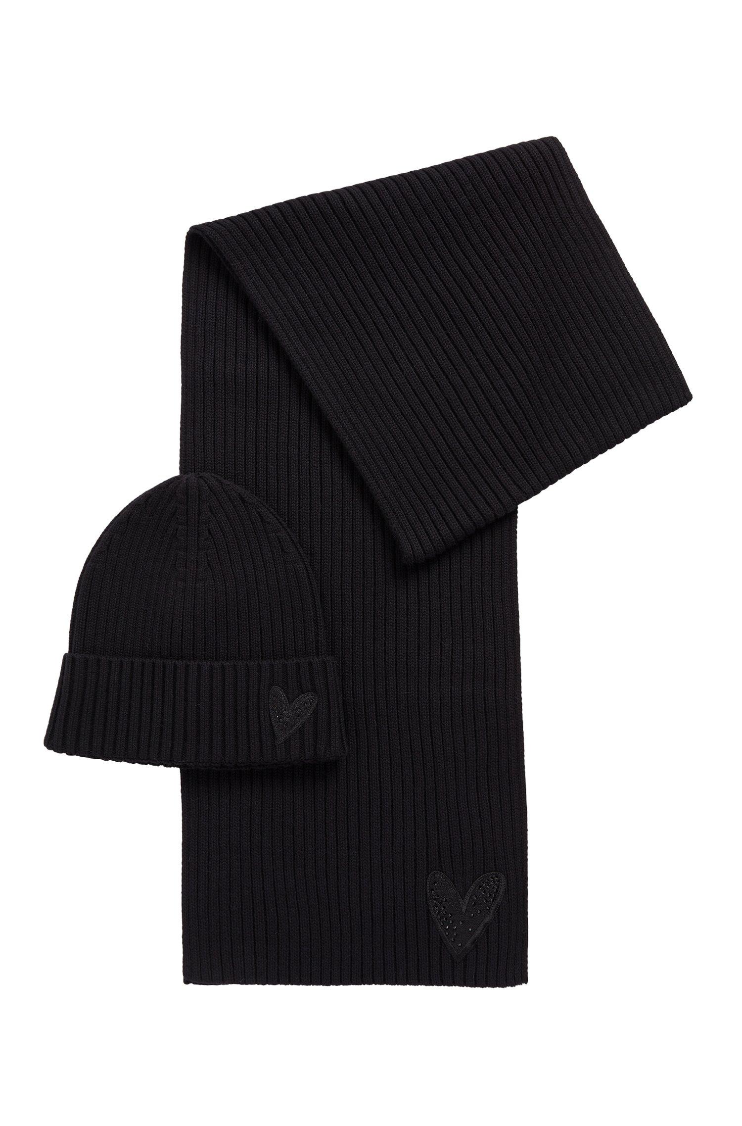 Bonnet et écharpe avec cœur orné de cristaux, Noir