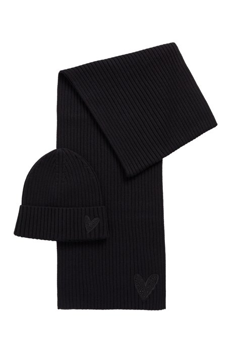 Beanie hat and scarf with crystal-embellished heart detailing, Black