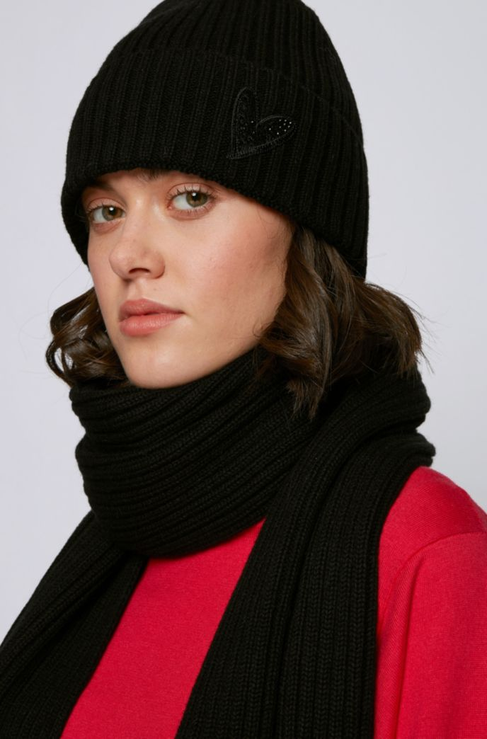 Beanie hat and scarf with crystal-embellished heart detailing