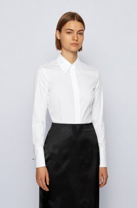 Regular-fit blouse with heart-shaped cufflinks, White