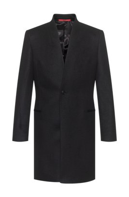 Extra-slim-fit jacket in a virgin-wool blend, Black