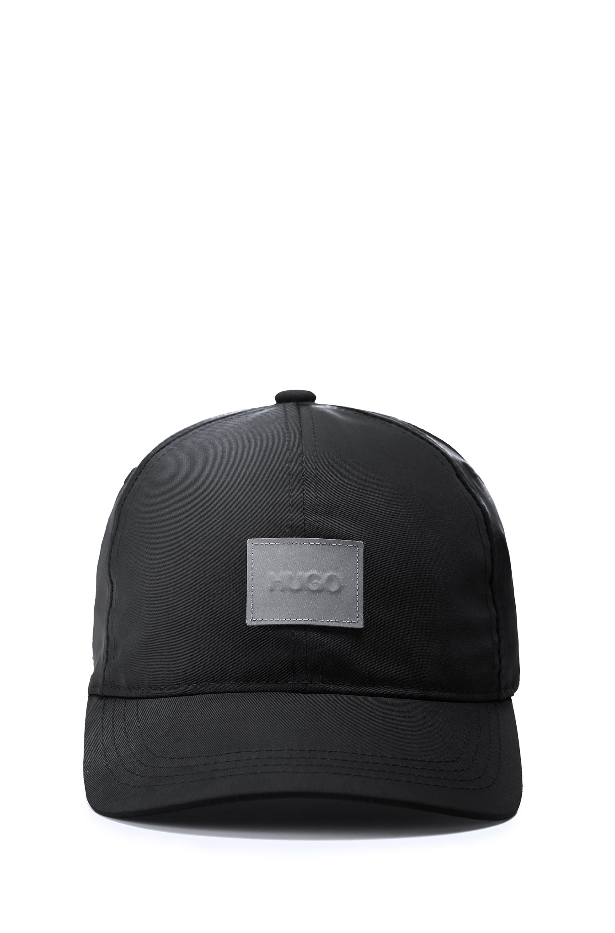 Nylon-twill cap with reflective logo patch