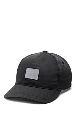 Nylon-twill cap with reflective logo patch, Black