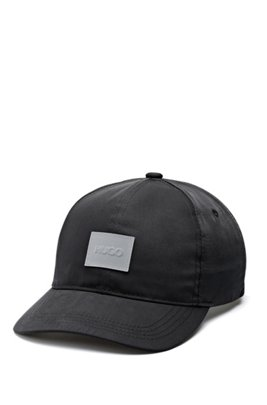 Nylon-twill cap with reflective logo patch, Black