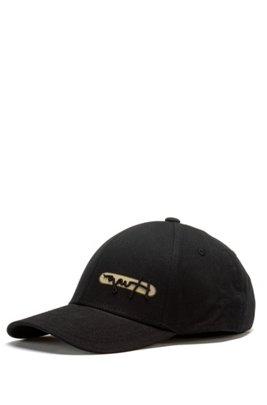 Cotton-twill logo cap with reflective spray print, Black