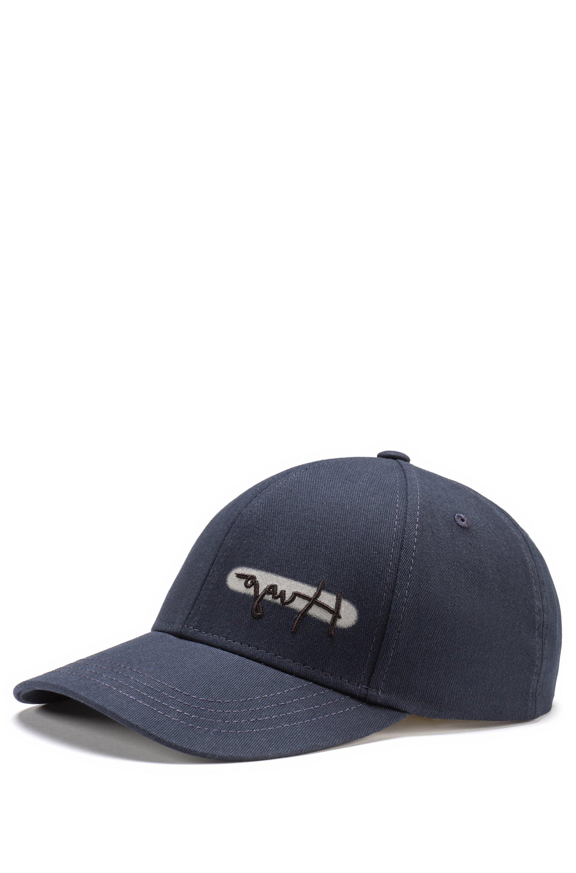 Cotton-twill logo cap with reflective spray print