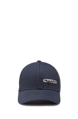 Cotton-twill logo cap with reflective spray print, Dark Blue